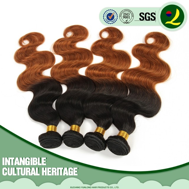 Excellent Quality Virgin Peruvian Body Wave Hair Ombre Colore 1B/30 Human Hair Weave Bundle