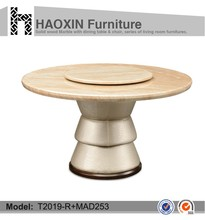 Solid Wood with PU Style round marble table tops & space saving furniture folding dining table & modern dining table