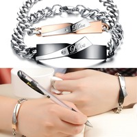 TRYME JEWELRY Box Packing! New Personality Stainless Couple LOVE Bracelets with Crystal Sweet Lover engagement Gift, 702