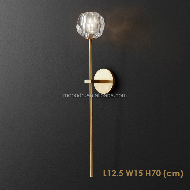 Modern Design Brass Color wall mounted bathroom Crystal Glass Wall lamp