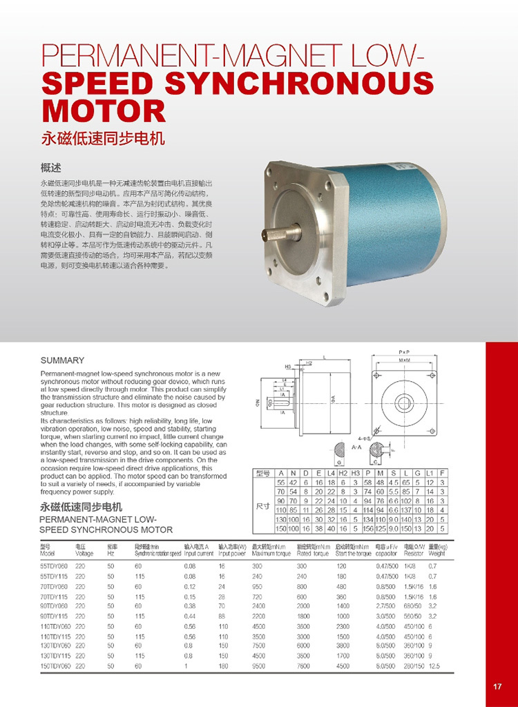 Permanent Magnet Synchronous Low Speed Motor For Epc