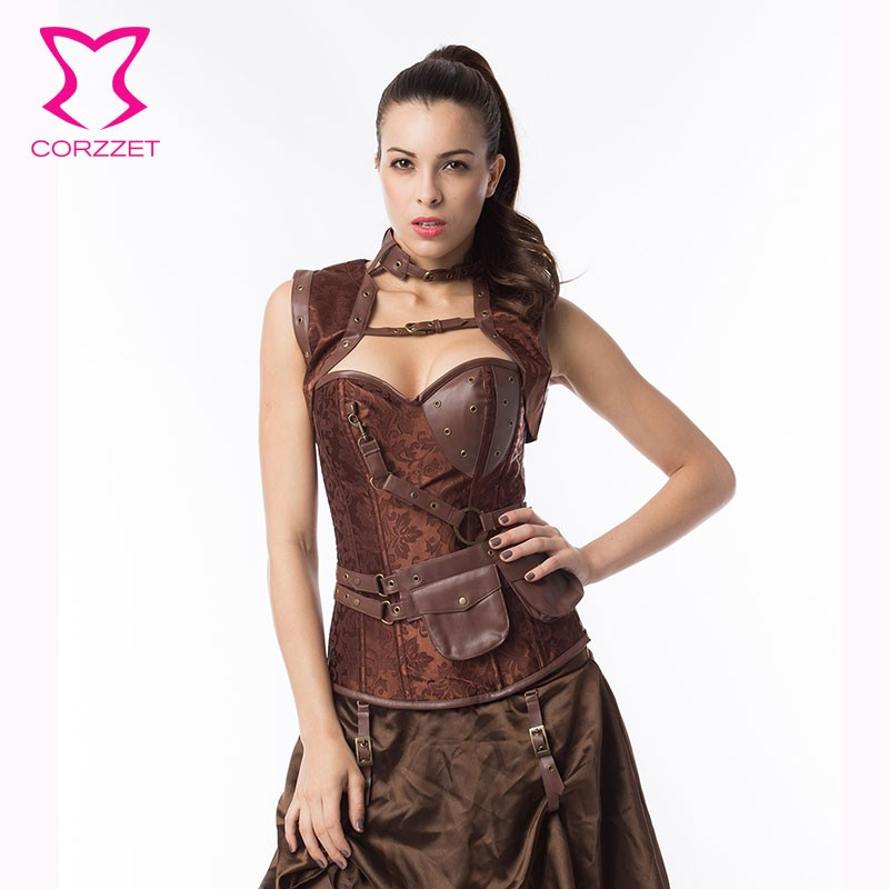 high quality gothic brown brocade steel boned steampunk corset armor