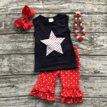 2016 bay girls July 4th clothing girls summer outfits girls sleeveless sets red polka dot ruffle capris with accessorei