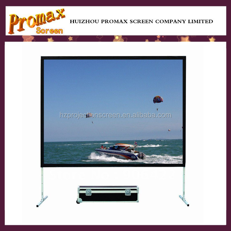 Fast fold portable projection screen with aluminum frame