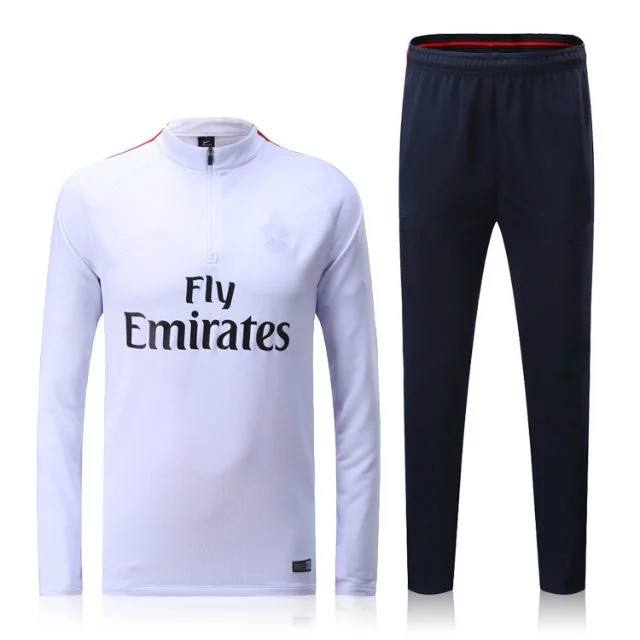 stand up collar men winter tracksuit white color soccer jacket football tracksuit