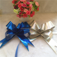 All holographic plastic elastic ribbon bow for gift packaging