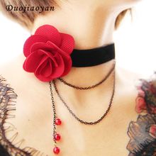 New Style Fashion Fabric Flower Jewellery Rose Tattoo Ruby Rhinestone Black Choker Necklace For Women Girls