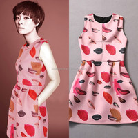 Factory Wholesale Quality Stars Style A-line Sleeveless Lips Printed Name Brand Fashion 2015 Latest Dresses For Women