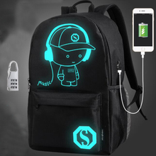Oxford logo custom travel sports school laptop night luminous led lighting usb anti theft backpack