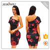 Hot girl sexy rose print club dress