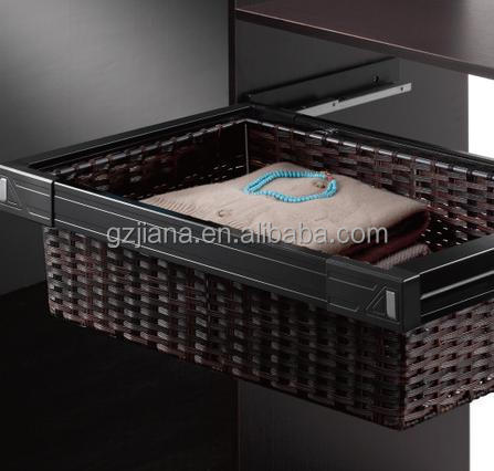 Wardrobe sliding pull out rattan basket