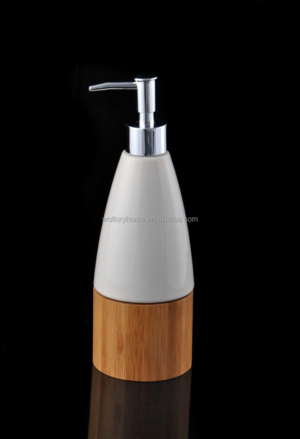 Retail Natural Bamboo And Ceramic Bath Accessories Set