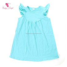 High quality baby clothes solid color kids <strong>dress</strong> summer flutter sleeve <strong>girl</strong> plain cotton <strong>dresses</strong>