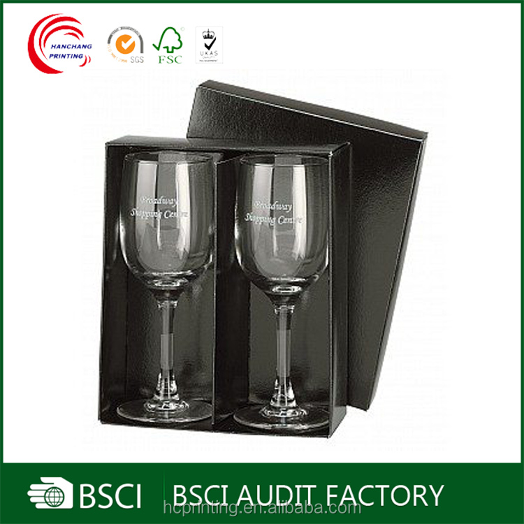 Cardboard bottom and lid 2 pack wine glasses carrying case