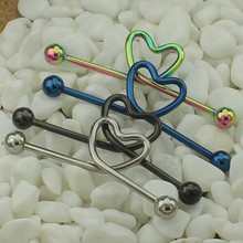 14GA Anodized Titanium Heart Design Body Piercing Unique Industrial Barbell