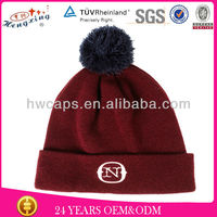 Winter bobble hat winter hat ski snowboard custom pom pom beanie hat with top ball