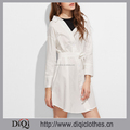 New arrivals plus size stylish casual White cotton Contrast 2 In 1 Shirts Dresses With Belt for women