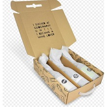 Custom Made Printed Corrugated Cardboard Carrying Wine Box With Plastic Handles