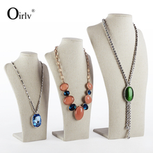 Oirlv Wholesale China Factory Commerical Necklace Display Bust Stands Luxury Creamy Yellow Linen Jewelry Display Showcase