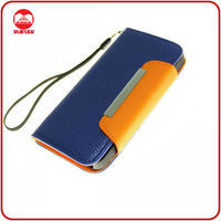 Popular Lichee Pattern Leather Portfolio Case for iphone 5