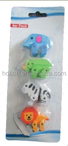 fancy 4pack animal shaped eraser with movable legs