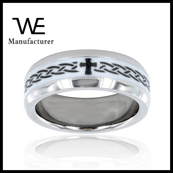 Men's Titanium Ceramic Inlay Cross Ring Womens Jewelry Stainless Steel
