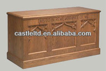 Solid wood church furniture,Wooden Closed Communion Table in pecan finish With Inscription, applied molding