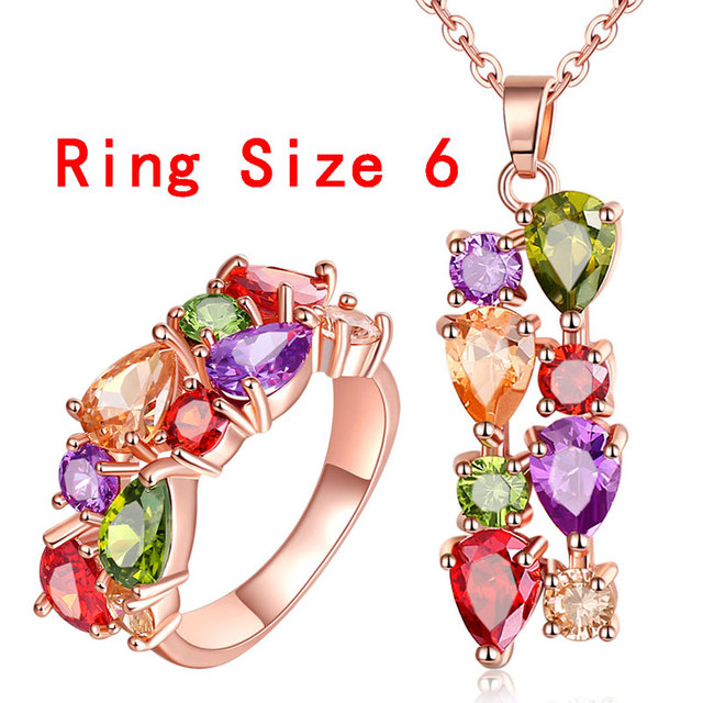 FYM Rose Gold Plated Jewelry Sets amp More for Women Mona Lisa Colorful Cubic Zircon Pendant Necklace Ring Jewelry Set JS0015