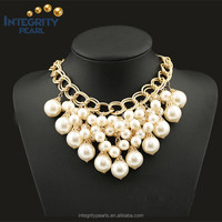 Hot new product chunky wholesale elegant bright white glass pearl mix gold plated choker necklace