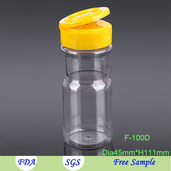 100ml Mini Clear Empty Food Grade Spice Plastic Bottle Barbecue Cooking Skaker Container with toothpick Cap