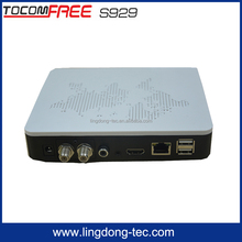Newest hd iptv recorder box tocomfree s929 with iptv satellite receiver for south america
