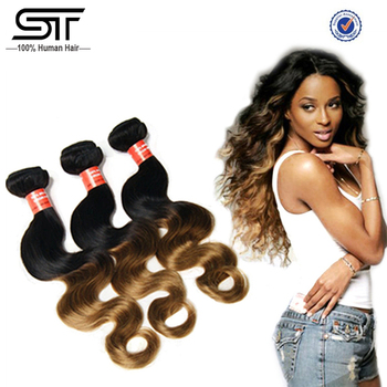 Top Selling Aliexpress Hair Two Tone Colored Brazilian Hair Weave, Ombre Brazilian Human Hair Extension