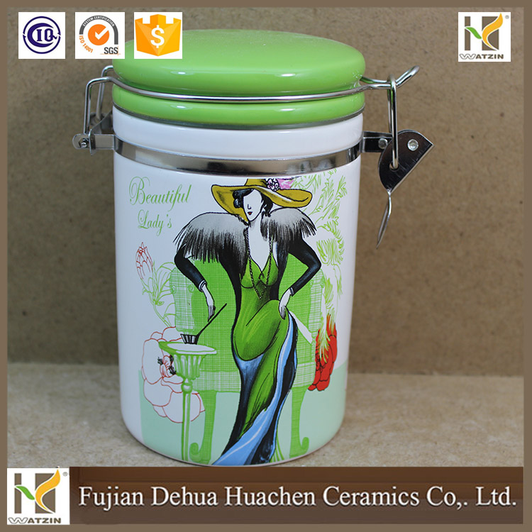 Ceramic Canister jar and cover for tea coffee sugar ball joyshaker bottle for kitchen storage