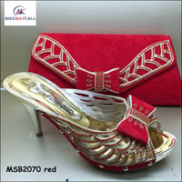 MSB2070 wedding party sexy Red color shoes Italian high heel crystal shoes and bag