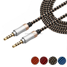 Hot Nylon Braided Male To Male Car 3.5mm Stereo Audio Snake Cable