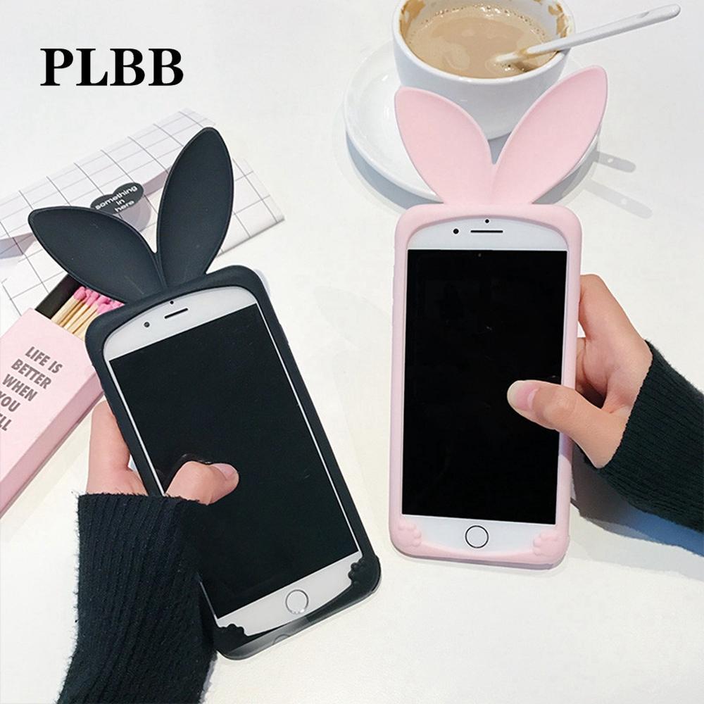 Funda Apple Iphone 6 / 6S gel / TPU / silicona 3D conejo rosa