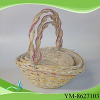 top quality small honey boat shape willow wicker decorative garden baskets