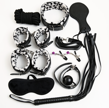 SM 9pcs Bondage Set Kit Including Rope/ Ball Gag /Handcuffs/Ankle Cuffs/ Paddle/ Whip /Clip/ Collar/ Mask