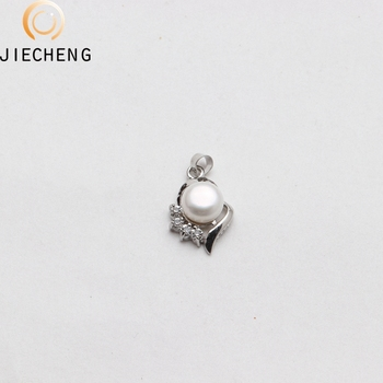 New designs wholesale silver plated  freshwater natural pearl bead genuine pearl jewelry zircon pendant
