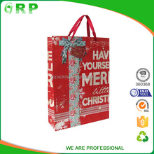 Newest custom full printing lovely paper gift bag with ribbon handle