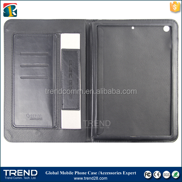 iron frame inside book style wallet leather case for ipad air