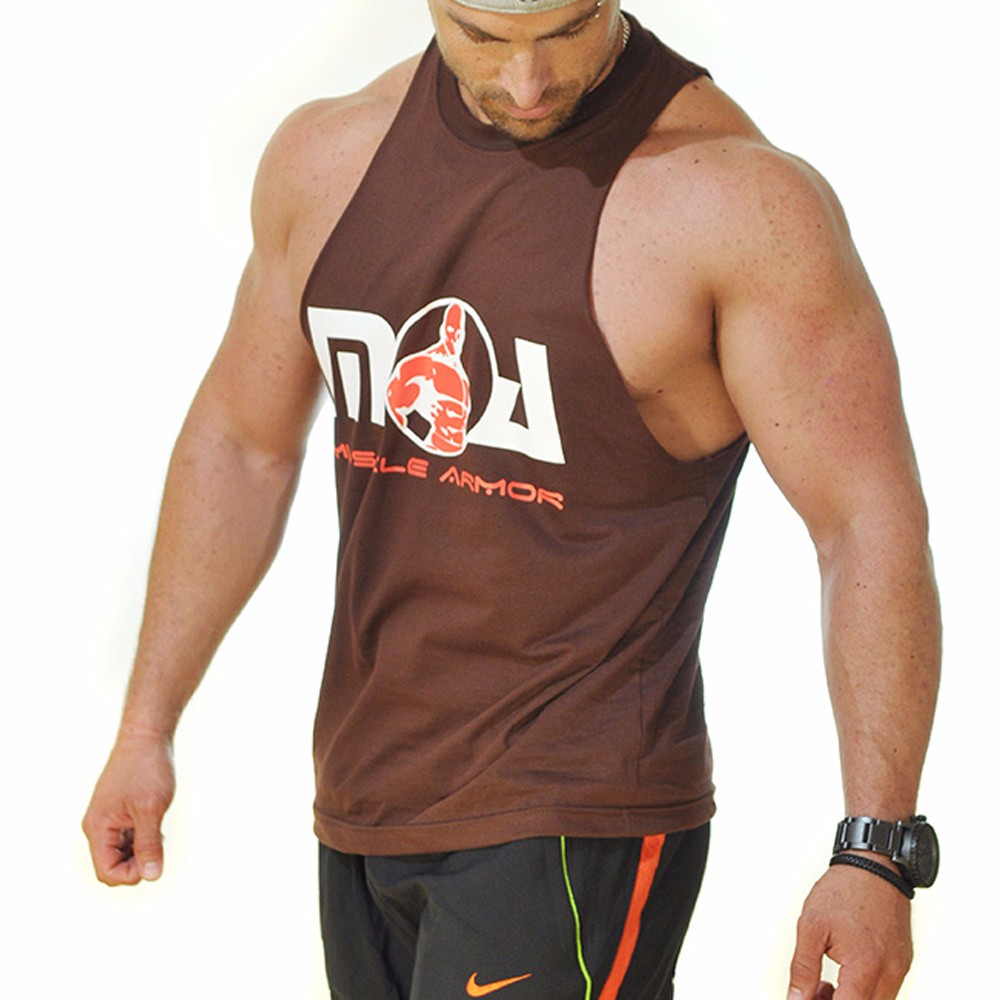 High quality cotton spandex muscle stringer shirt