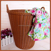 Hot Sale Chinese Chip Plastic Rattan Laundry Basket for Cloth / Handmade Colored Big Plastic Rattan Hamper