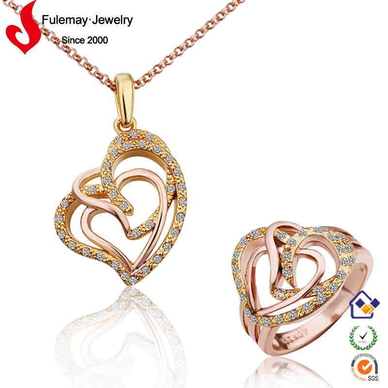 Modern royal artificial 18k crystal indian bridal gold jewellery sets FPS291