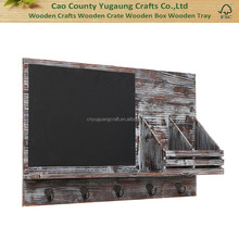 Country Rustic Brown Wood Wall Mounted Entryway Mail Sorter Rack w 5 Key Hooks and Black Chalk Board