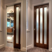 Interior wood sliding /pocket glass door wood door