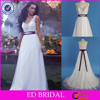 XL460 cap sleeve open back detachable beaded sash purple and white wedding dresses