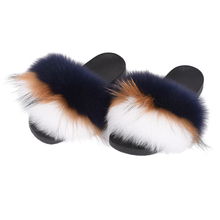 New Real Fox And Raccoon Slippers Fur Slides Women Fashion Spring Autumn Winter