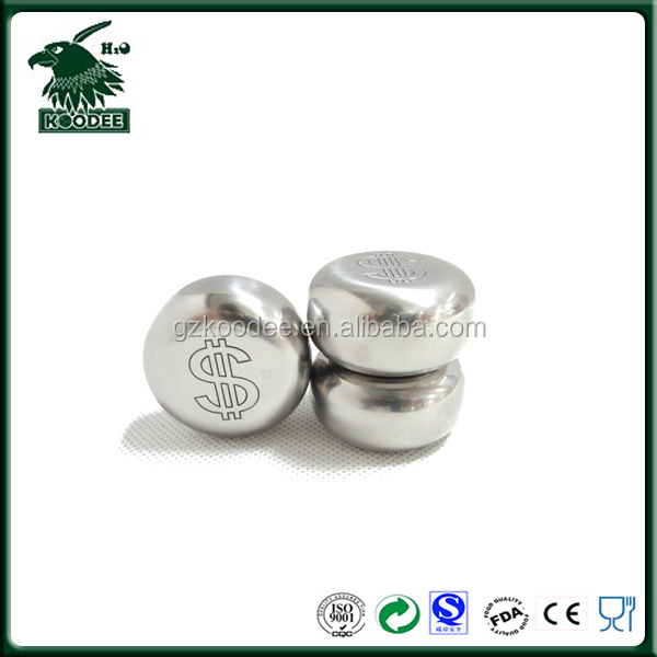 Money Coin Shaped Stainless Steel ice rock Gift with Storage Bag