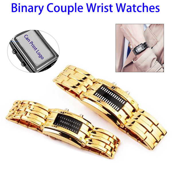 Fashion New Waterproof Digital Couple Lover Binary LED Steel Wrist Watch
